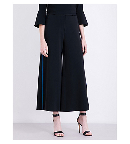 PETER PILOTTO Contrast-piping crepe trousers (Black