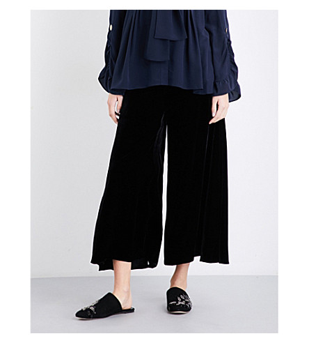 PETER PILOTTO High-rise wide velvet trousers (Black