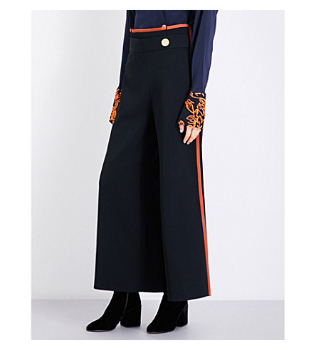 PETER PILOTTO Contrast-trim wide cropped high-rise woven culottes (Black