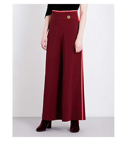 PETER PILOTTO Contrast-trim wide cropped high-rise woven culottes (Burgundy