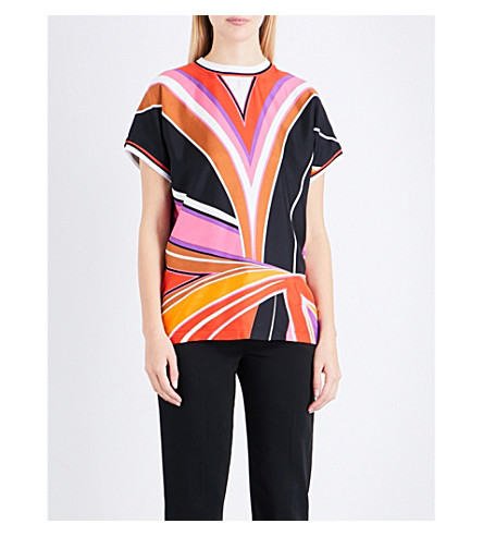 EMILIO PUCCI Stella-print silk and cotton top (Viola/fuxia