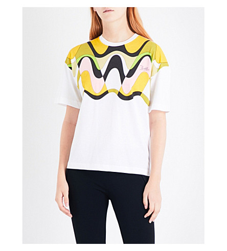 EMILIO PUCCI Abstract-print cotton-jersey T-shirt (Rosa/giallo