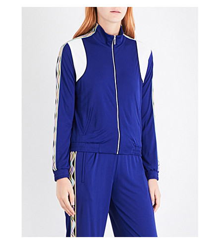 EMILIO PUCCI Wave-print trim jersey jacket (Iris