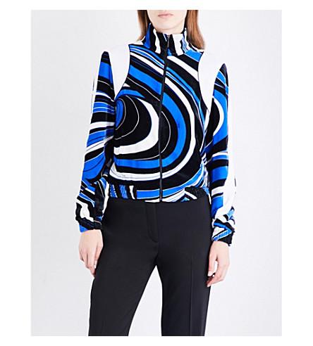 EMILIO PUCCI Wave-print velvet jacket (Cobalto