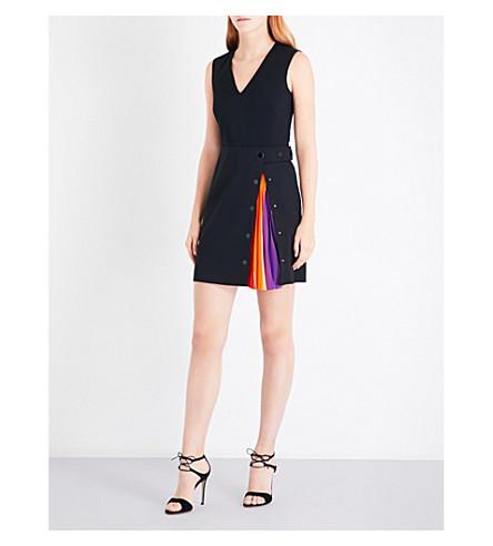 EMILIO PUCCI Archive-print underlay sleeveless stretch-wool dress (Nero/viola/fur