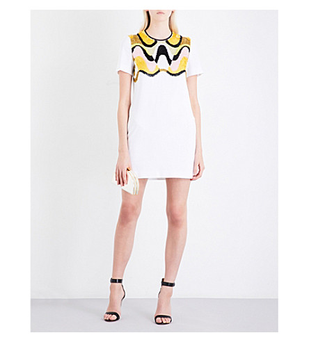 EMILIO PUCCI Sequin-embellished twill mini dress (White