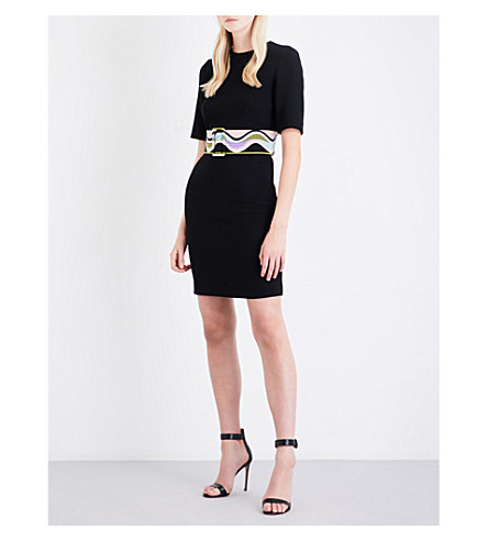 EMILIO PUCCI Belted wool mini dress (Nero