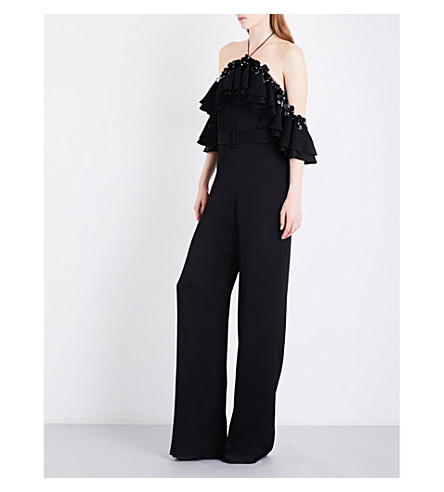 EMILIO PUCCI Off-the-shoulder flared satin jumpsuit (Nero