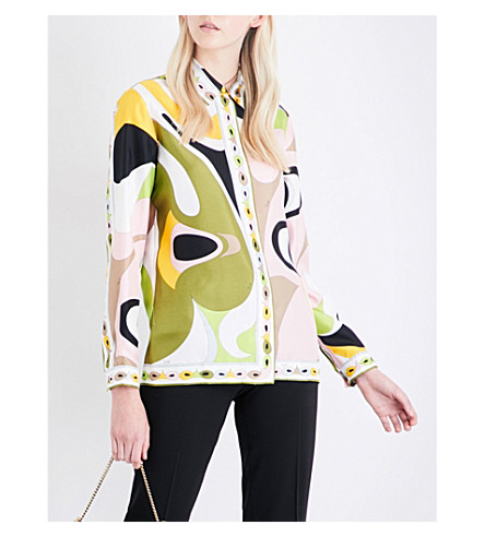 EMILIO PUCCI Abstract graphic-print silk-twill shirt (Verde/rose