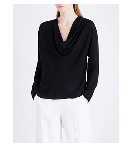 EMILIO PUCCI Scoop-neck silk top (Nero