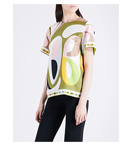 EMILIO PUCCI Abstract graphic-print silk top (Verde/rose