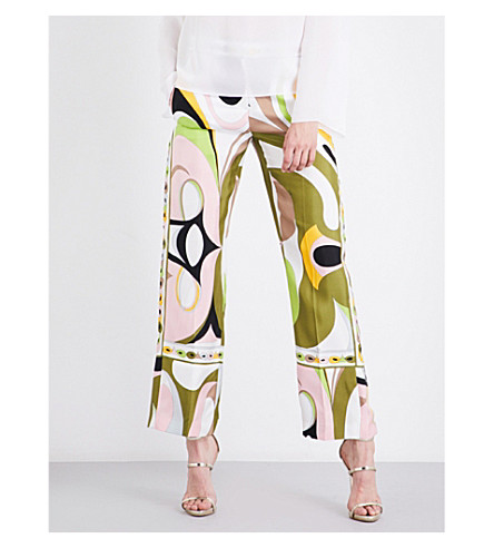 EMILIO PUCCI Abstract-print silk-twill trousers (Verde/rose