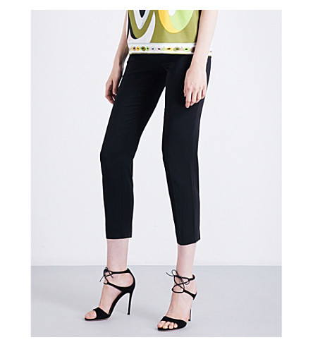EMILIO PUCCI Tapered cropped high-rise gabardine trousers (Nero