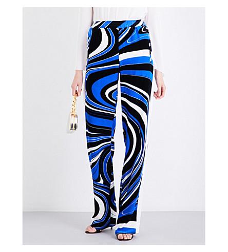 EMILIO PUCCI Straight velvet trousers (Cobalto