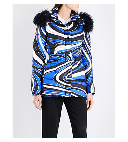 EMILIO PUCCI Wave-print shell puffer jacket (Cobalto