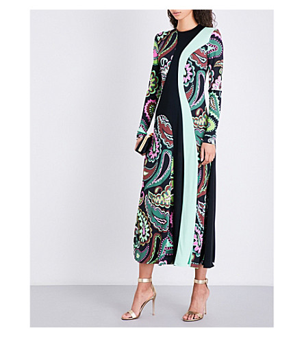 EMILIO PUCCI Paisley-print panel jersey dress (Green
