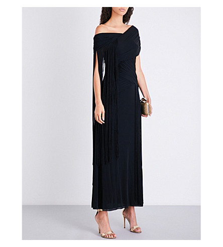 EMILIO PUCCI Off-the-shoulder tassel-detail jersey gown (Black