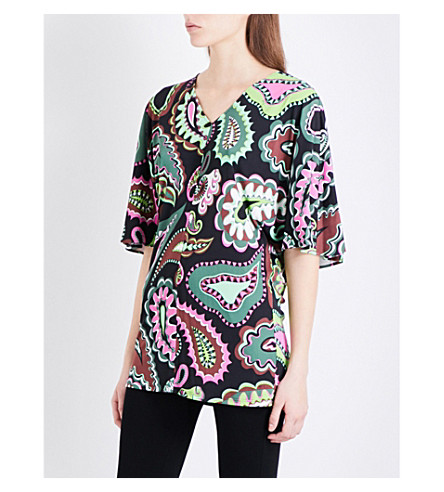 EMILIO PUCCI V-neck paisley-print jersey top (Green