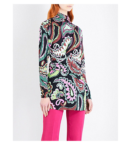 EMILIO PUCCI Paisley-print jersey top (Green