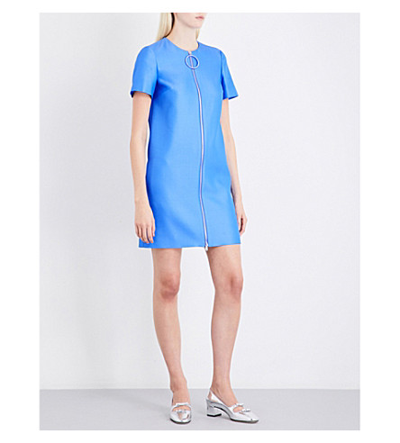 EMILIO PUCCI Zip-detail wool and silk-blend mini dress (Blue
