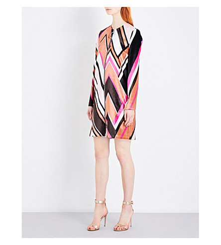 EMILIO PUCCI Wave-pattern velvet dress (Pink+wave