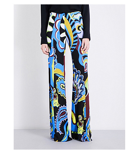 EMILIO PUCCI Paisley-print flared stretch-jersey trousers (Blue