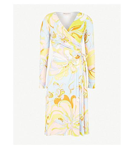 EMILIO PUCCI Paisley-print crepe wrap dress (Limone