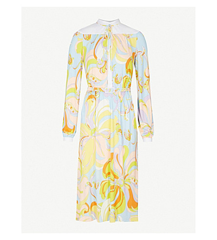 EMILIO PUCCI Floral-print jersey and silk-blend dress (Limone