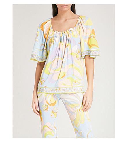 EMILIO PUCCI Floral-print crepe T-shirt (Limone