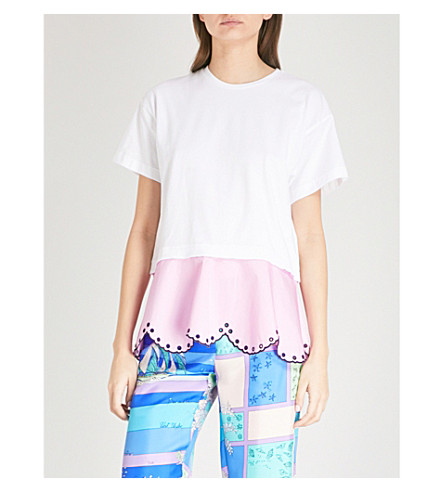 EMILIO PUCCI Scalloped cotton-blend T-shirt (Bianco+ottico