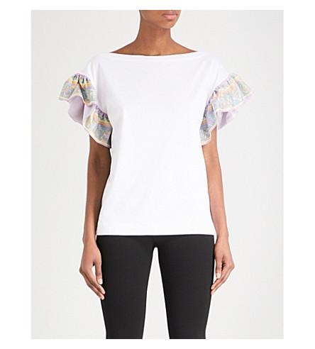 EMILIO PUCCI 火烈鸟-印花丝绸和棉 t恤衫 (比安科 + ottico