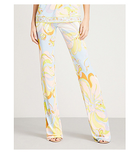 EMILIO PUCCI Floral-print flared stretch-crepe trousers (Limone