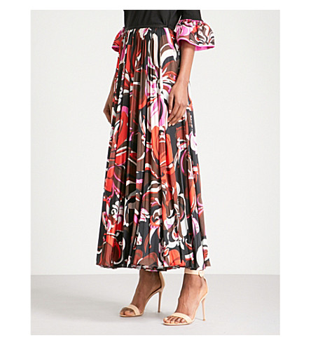 EMILIO PUCCI Signature-print high-rise satin midi skirt (Nero/rosso