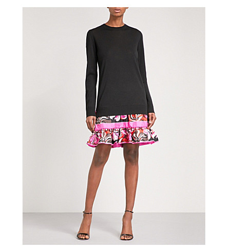 EMILIO PUCCI Floral-panel straight wool dress (Nero
