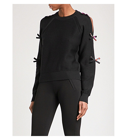 EMILIO PUCCI Bow-detailed wool jumper (Nero