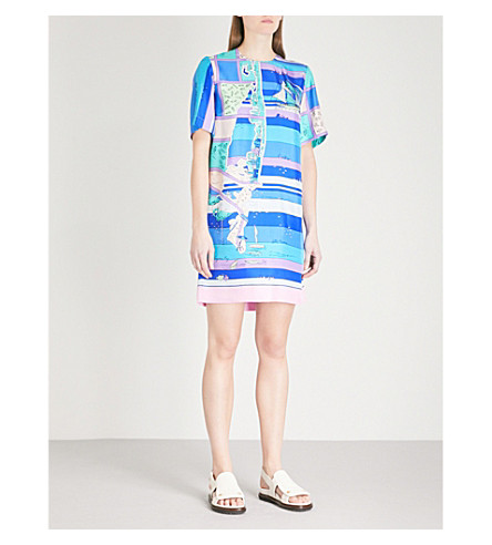 EMILIO PUCCI Abstract seaside-print silk mini dress (Cobalto/+peonia