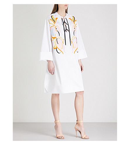 EMILIO PUCCI Embroidered-detail cotton-poplin dress (Bianco+ottico