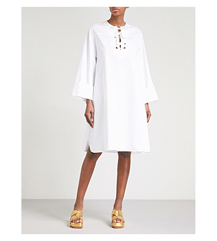 EMILIO PUCCI Lace-up cotton shirt dress (Bianco+ottico