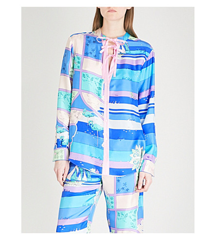 EMILIO PUCCI Abstract seaside-print silk blouse (Cobalto/+peonia