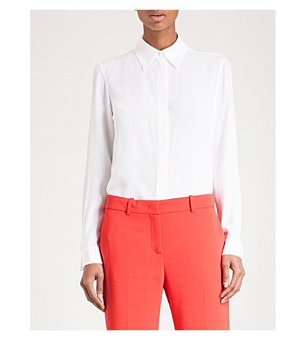 EMILIO PUCCI Concealed button silk-chiffon shirt (Bianco+ottico