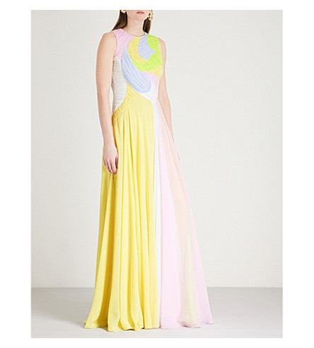 EMILIO PUCCI Colour swirl silk-chiffon dress (Giallo+mela