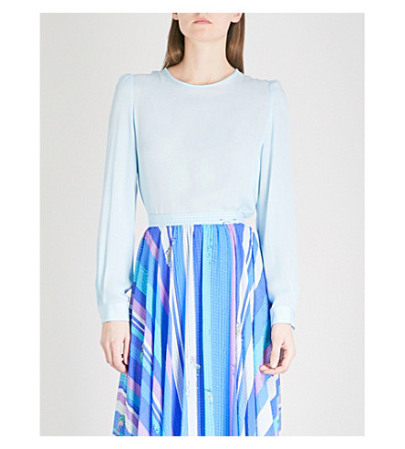 EMILIO PUCCI Loose-fit silk blouse (Turchese+siracusa