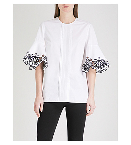 EMILIO PUCCI Embroidered-detail cotton-poplin top (Bianco+ottico