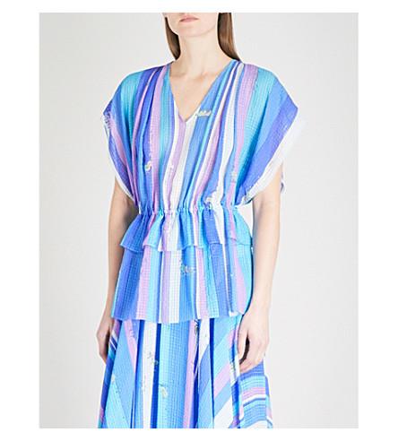 EMILIO PUCCI Layered stripe and seahorse-print silk blouse (Cobalto/+peonia