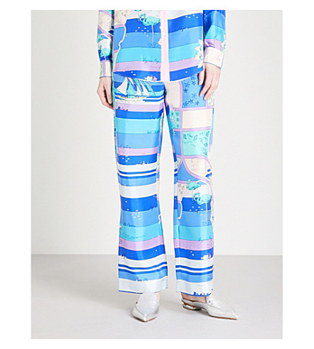 EMILIO PUCCI Abstract seaside-print wide-leg silk trousers (Cobalto/+peonia