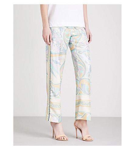 EMILIO PUCCI Floral-print wide-leg silk-twill trousers (Glicine