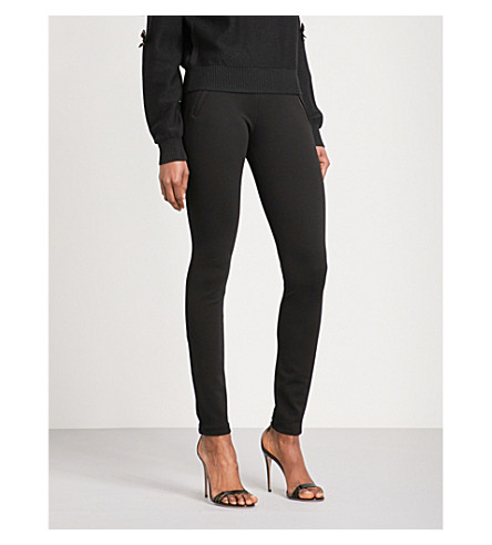 EMILIO PUCCI Zip-detailed skinny high-rise stretch trousers (Nero