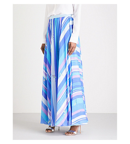 EMILIO PUCCI Striped hammered-silk maxi skirt (Cobalto/+peonia