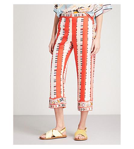 EMILIO PUCCI Circle and stripe-print high-rise silk-twill trousers (Rosa/corallo