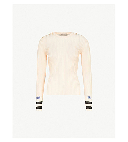 EMILIO PUCCI Logo-embroidered ribbed-knit top (Rosa+nero+blue